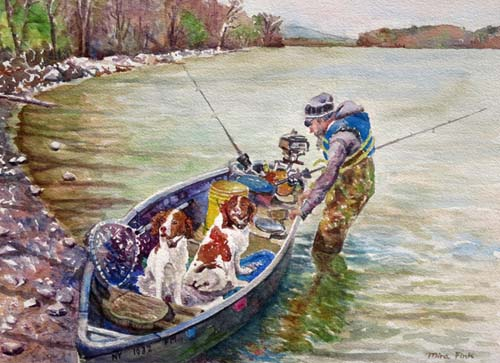Fishing with dogs